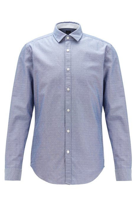 Slim-fit shirt in dobby cotton with contrast trims, Dark Blue