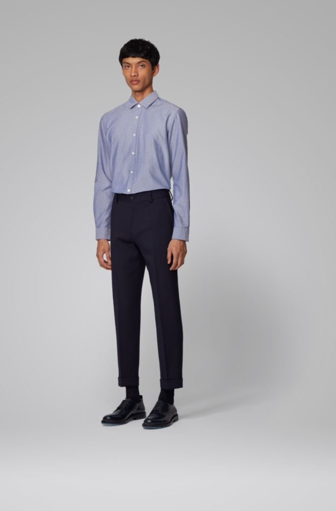 Slim-fit shirt in dobby cotton with contrast trims