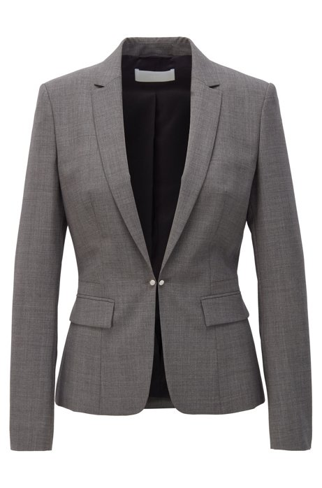 Regular-fit jacket with cufflink closure and silky lining, Grey
