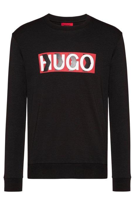 Cotton sweatshirt with chevron-print logo, Black