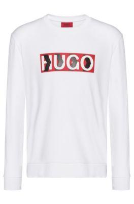 Cotton sweatshirt with chevron-print logo, White