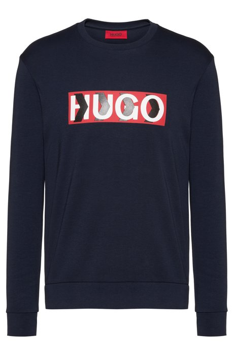 Cotton sweatshirt with chevron-print logo, Dark Blue