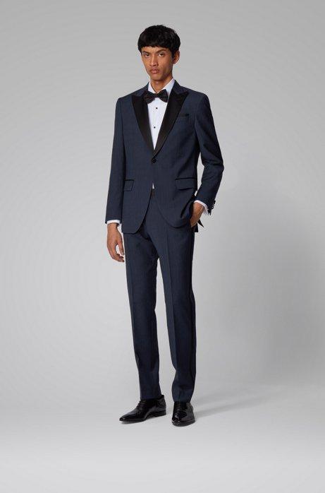 Slim-fit suit in melange virgin wool with silk trims, Dark Blue