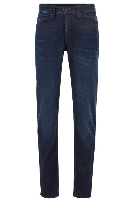 Tapered-fit jeans in knitted stretch denim, Dark Blue