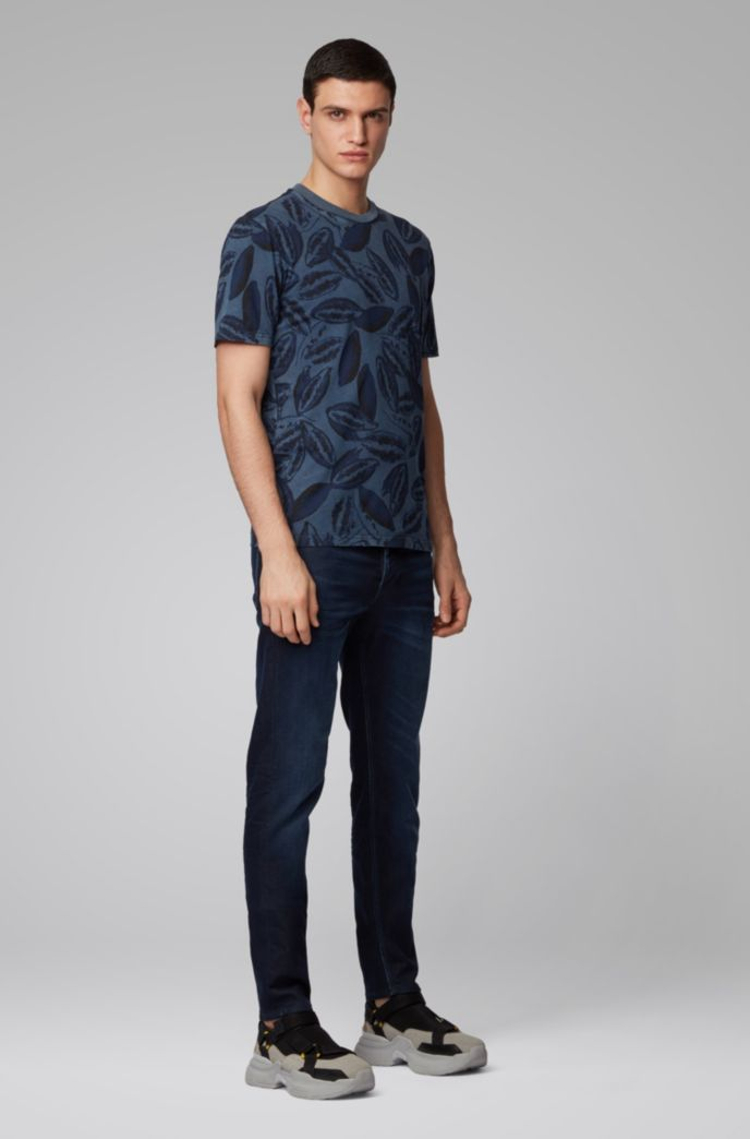 Tapered-fit jeans in knitted stretch denim