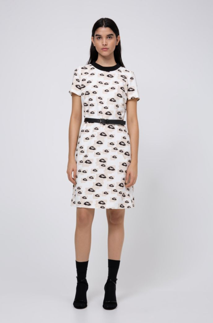 Stretch-fabric dress with collection-themed print