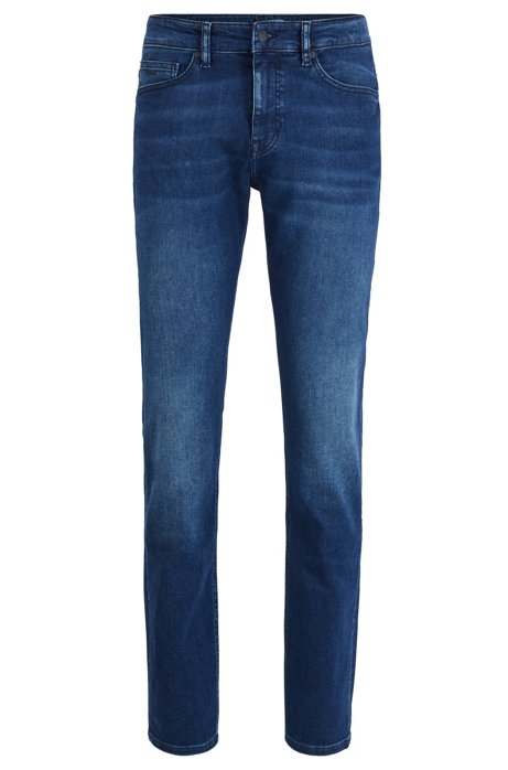 Slim-fit jeans in dark-blue super-stretch denim, Blue
