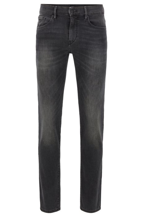Skinny-fit jeans in black knitted stretch denim, Black