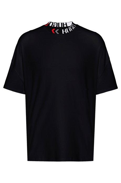Oversize-fit cotton T-shirt with logo neckline, Black
