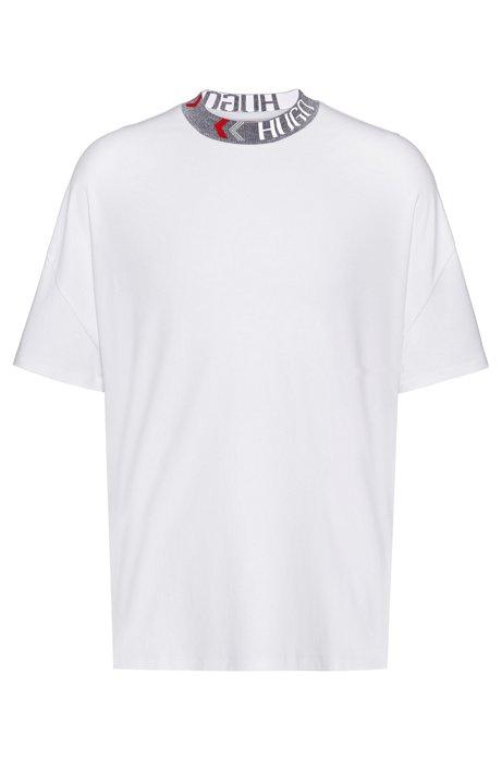 Oversize-fit cotton T-shirt with logo neckline, White