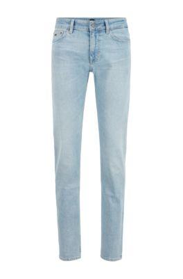 Slim-fit jeans in light-blue comfort-stretch denim, Light Blue