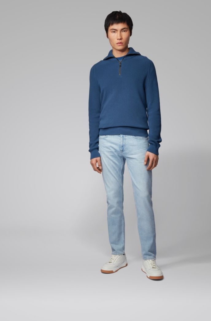 Slim-fit jeans in light-blue comfort-stretch denim