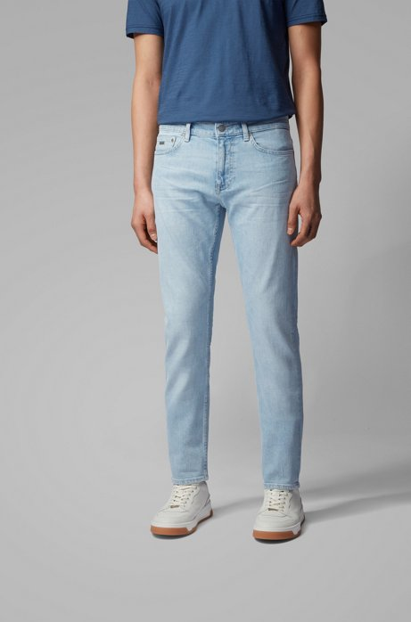 Slim-fit jeans in light-blue comfort-stretch denim, Light Blue