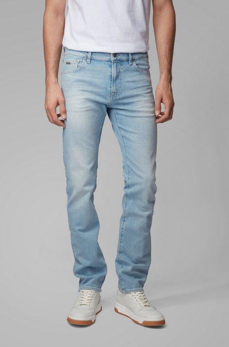 Regular-fit jeans in light-blue comfort-stretch denim, Light Blue