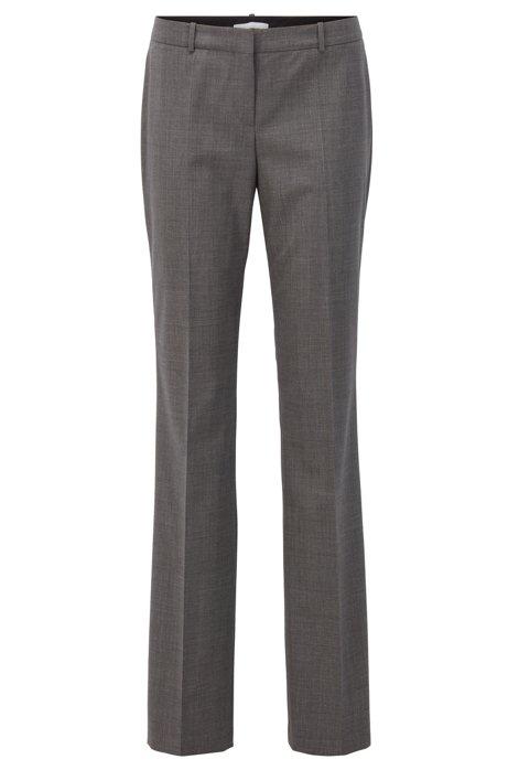 Regular-fit pants in a melange virgin-wool blend, Grey
