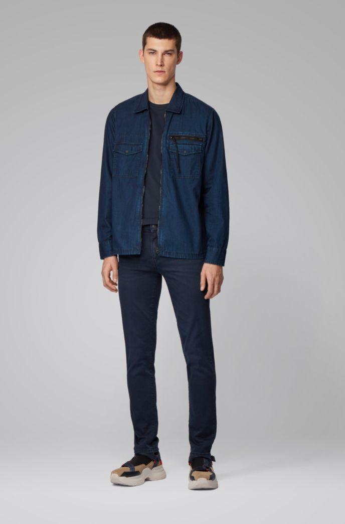 Skinny-fit jeans in dark-blue super-stretch denim