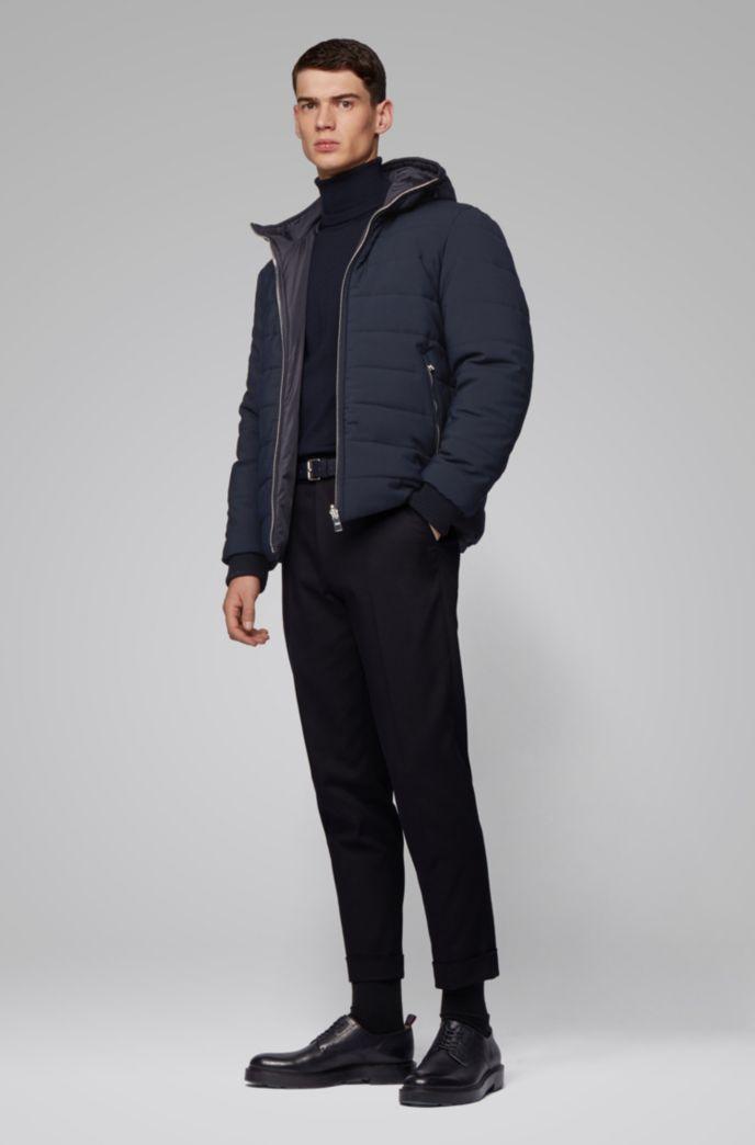 Reversible jacket in water-repellent mixed fabrics