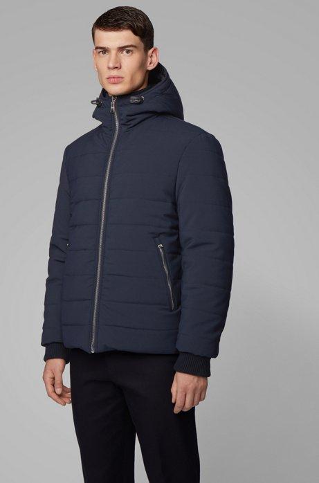 Reversible jacket in water-repellent mixed fabrics, Dark Blue