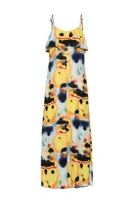 Tie-dye midi dress with volant detail, Patterned