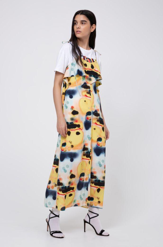 Tie-dye midi dress with volant detail