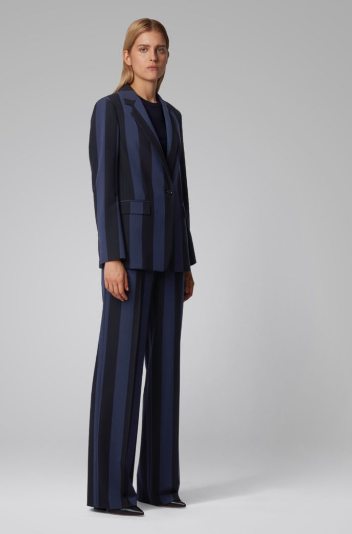 Relaxed-fit jacket in striped stretch fabric
