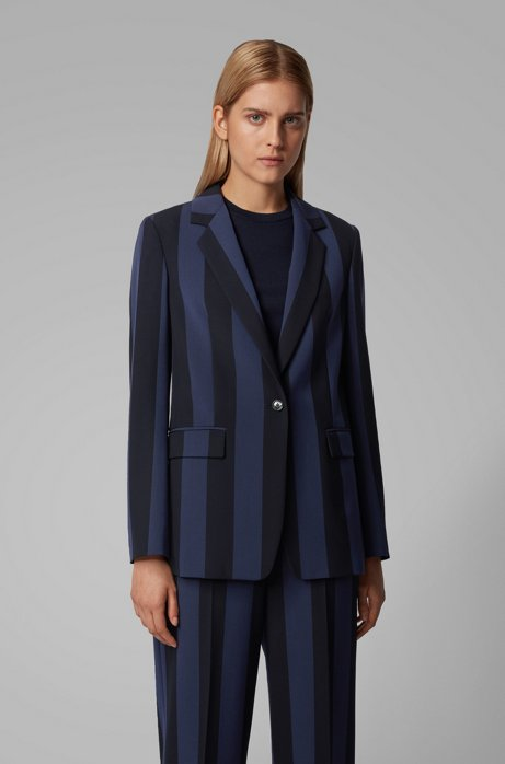 Relaxed-fit jacket in striped stretch fabric, Patterned