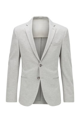 Slim-fit jacket in melange stretch jersey, Grey