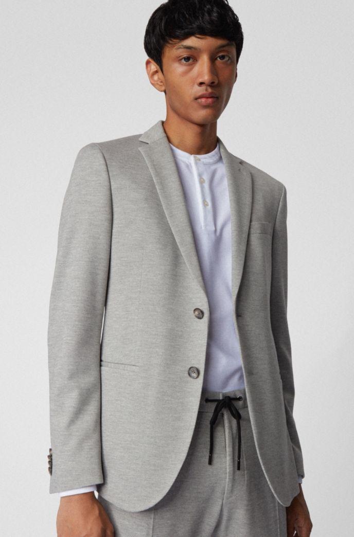 Slim-fit jacket in melange stretch jersey