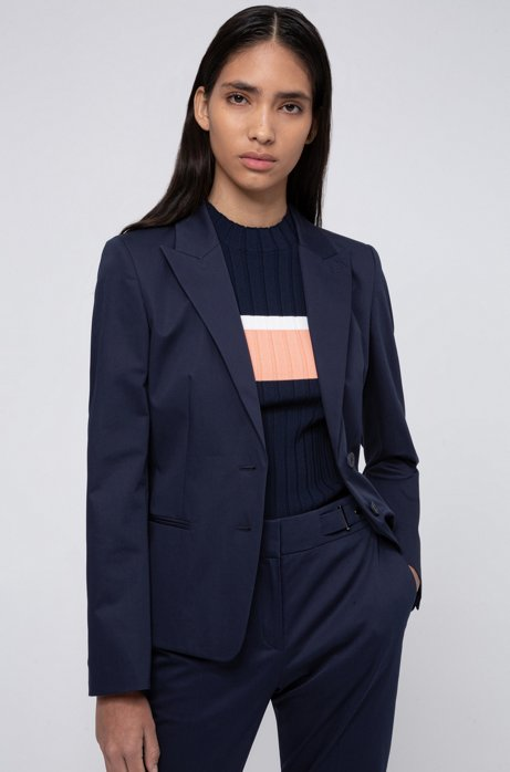 Regular-fit jacket in stretch cotton, Open Blue