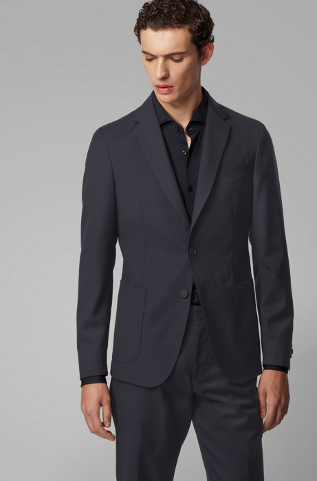 Slim-fit jacket in a traceable-wool blend, Dark Blue