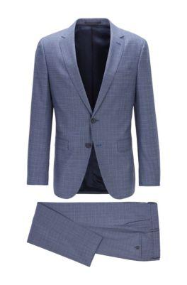 Slim-fit suit in patterned virgin-wool serge, Open Blue