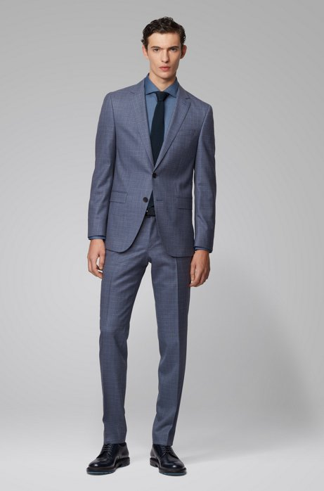 Slim-fit suit in patterned virgin-wool serge, Open Blue