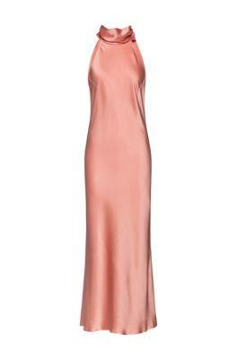 Tie-neck evening dress in lustrous fabric, Light Orange