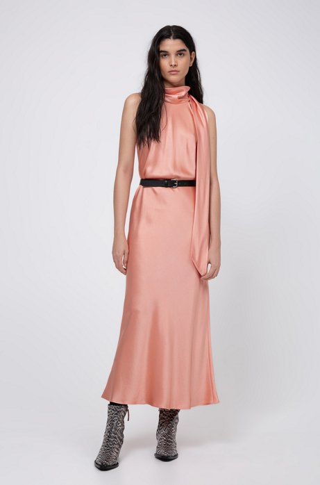 Tie-neck evening dress in lustrous fabric, Light Orange