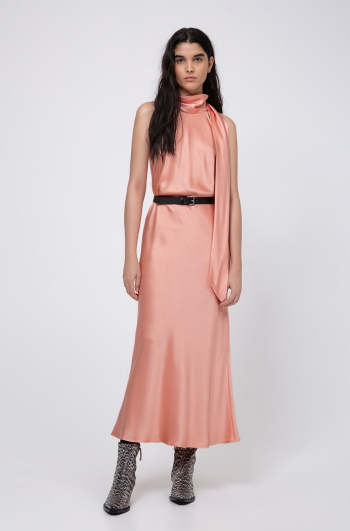Tie-neck evening dress in lustrous fabric