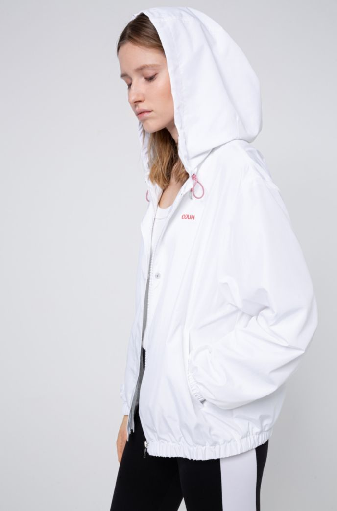 Relaxed-fit hooded jacket with reversed-logo print