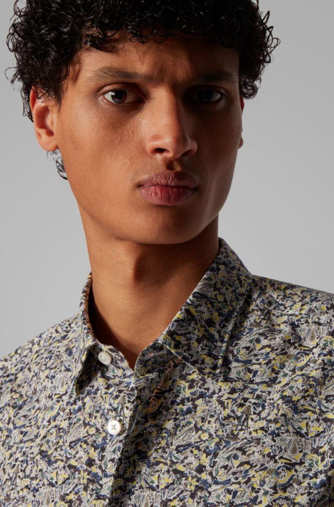 Abstract-print slim-fit shirt in cotton poplin