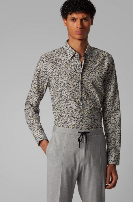 Abstract-print slim-fit shirt in cotton poplin, Yellow
