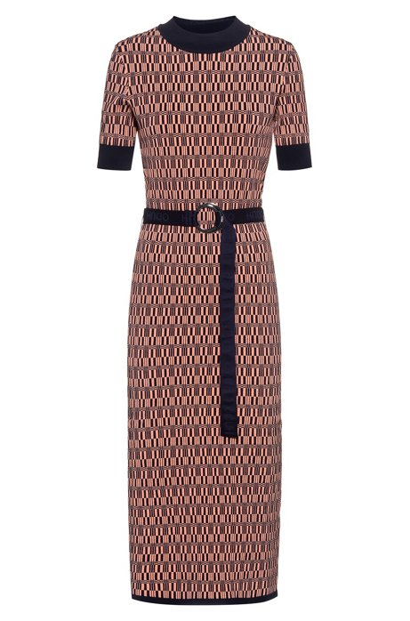Slim-fit knitted dress with all-over pattern, Patterned