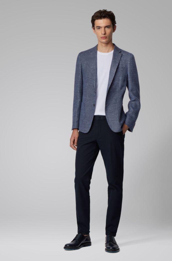 Slim-fit jacket in a patterned virgin-wool blend