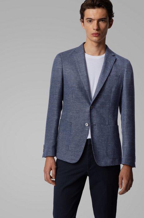 Slim-fit jacket in a patterned virgin-wool blend, Open Blue