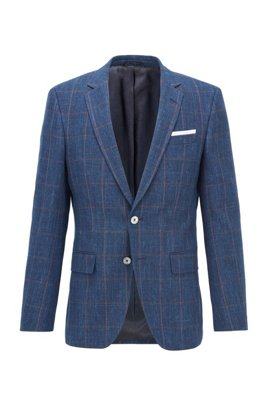 Slim-fit jacket in a plain-check virgin-wool blend, Light Blue