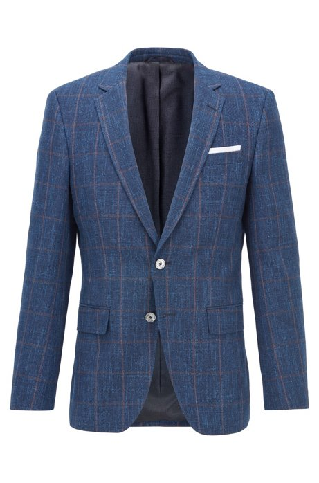 Slim-fit jacket in a plain-check virgin-wool blend, Open Blue
