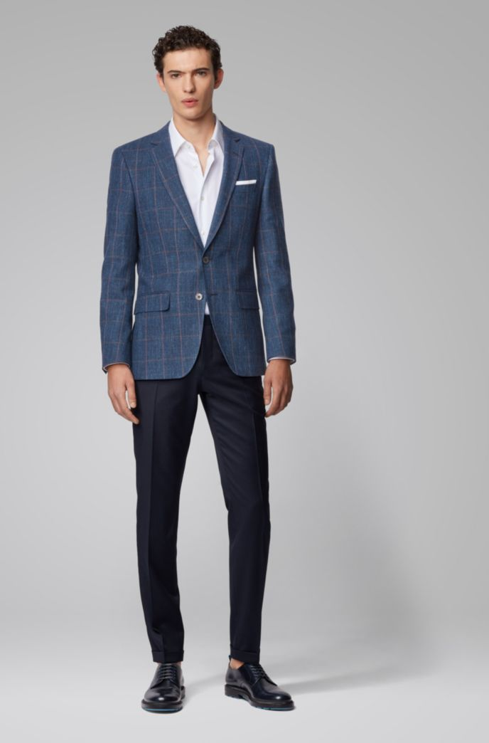 Slim-fit jacket in a plain-check virgin-wool blend