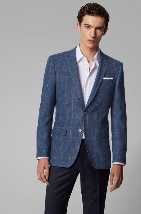 Slim-fit jacket in a plain-check virgin-wool blend, Open Blue