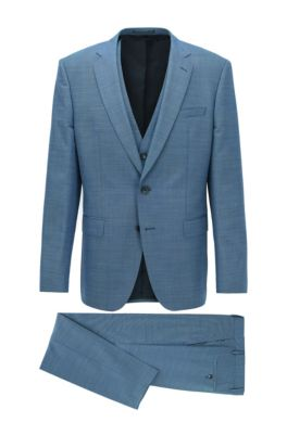 Slim-fit three-piece suit in wool and silk, Light Blue