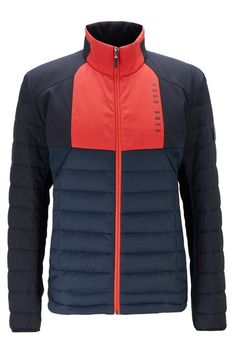 Water-repellent down jacket with contrast panels, Dark Blue