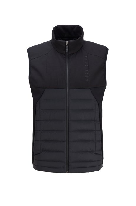 Water-repellent gilet with color-block paneling, Black