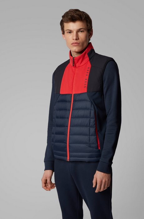 Water-repellent gilet with color-block paneling, Dark Blue