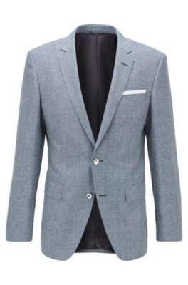 Slim-fit jacket in virgin wool and linen, Blue